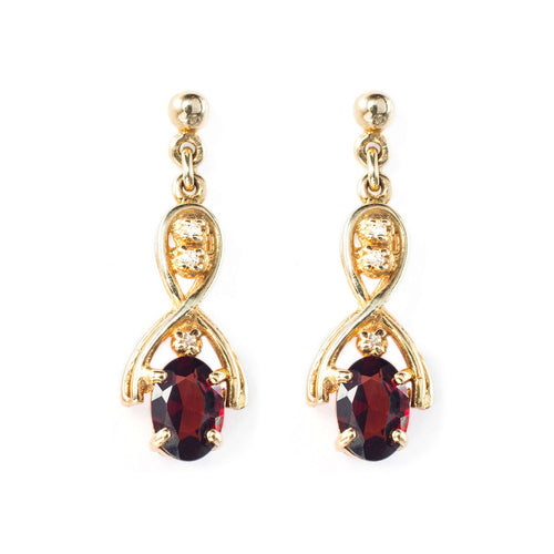 9kt Yellow Gold Round Garnet Drop Earrings