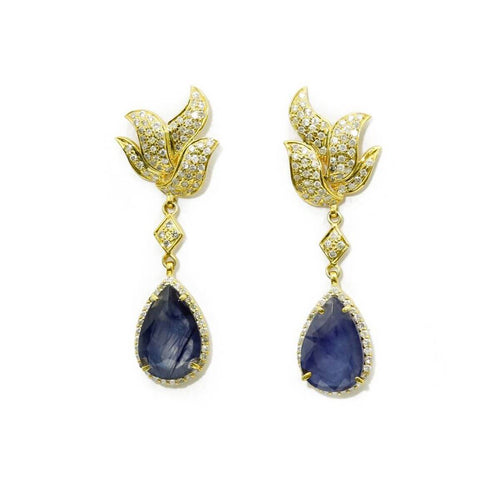 Yellow Gold Plated Blue Sapphire Dangling Earrings
