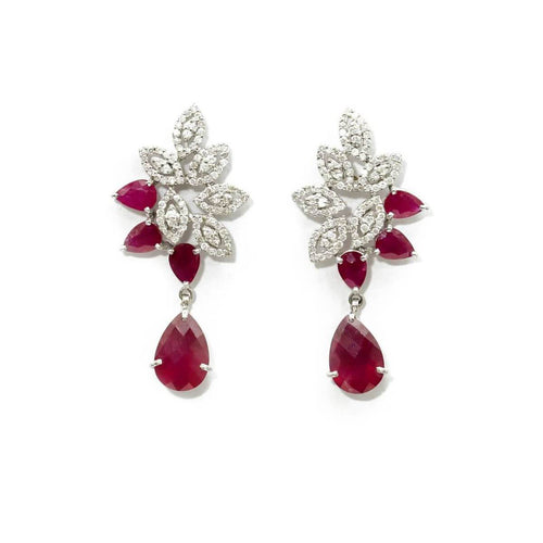 White Gold Plated Diamond Cluster & Ruby Earrings