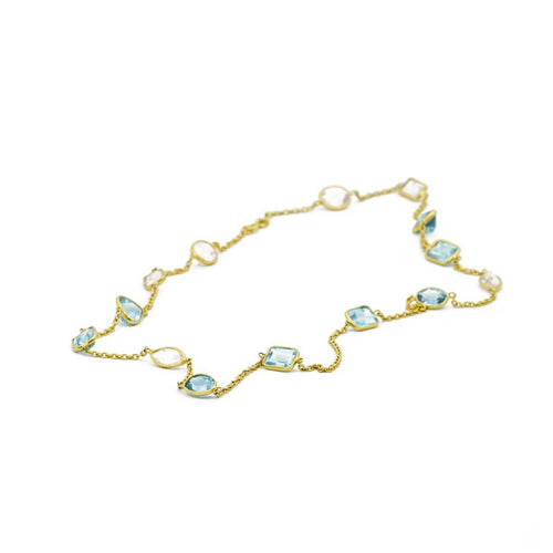 Yellow Gold Plated Blue Topaz & Rose Quartz Necklace