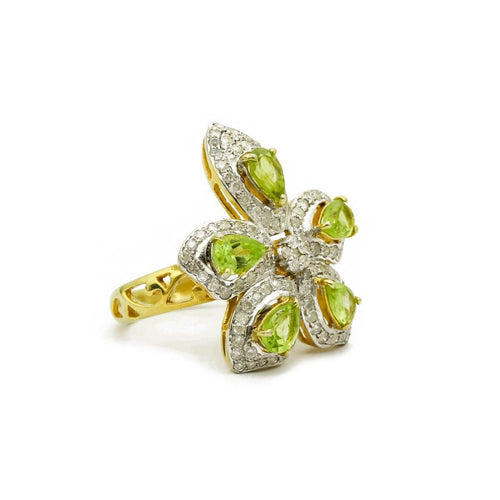 Yellow Gold Plated Diamond Flower Peridot Cocktail Ring