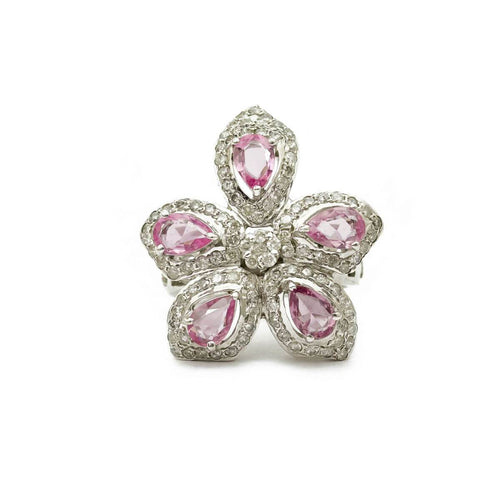 White Gold Plated Diamond Flower Pink Sapphire Cocktail Ring