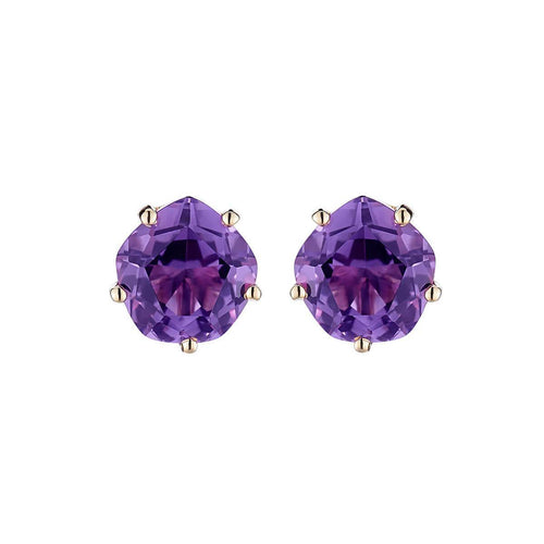Pair of Yellow Gold & Amethyst Chic Galina Ear Studs