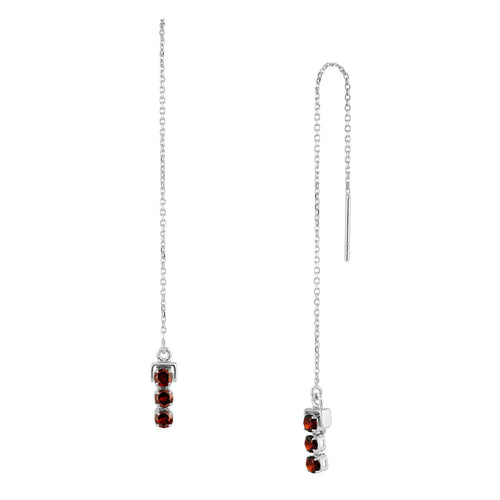 Sterling Silver San Shi Garnet Long Earrings ,[product vendor],JewelStreet