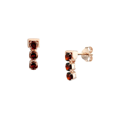 18kt Rose Gold Vermeil San Shi Garnet Stud Earrings ,[product vendor],JewelStreet