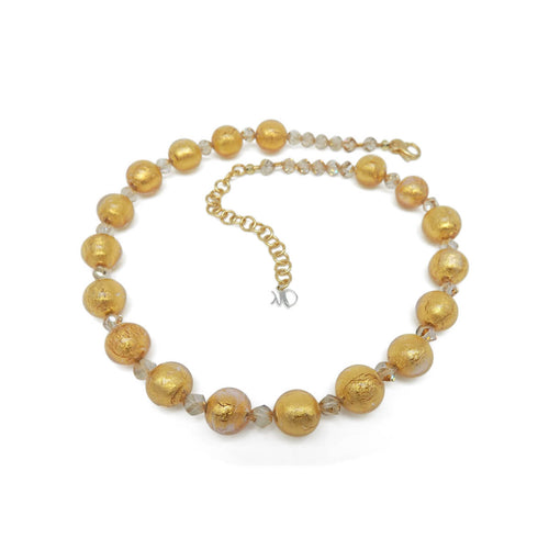 Murano Glass Bead Golden Heart Necklace ,[product vendor],JewelStreet