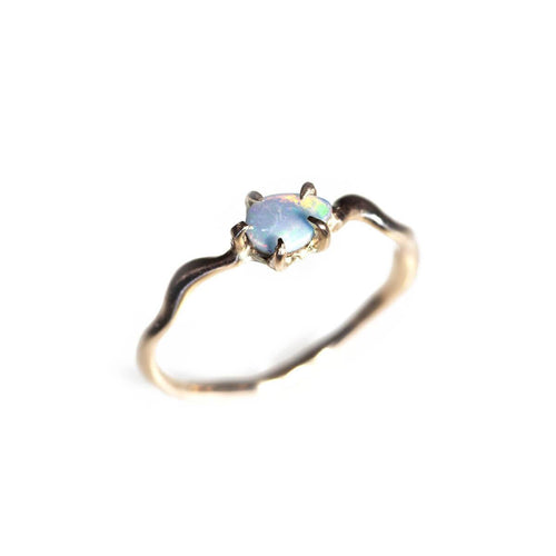 10kt Yellow Gold Blue-Green Opal Teardrop Gold Wave Ring