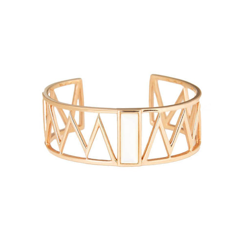 Rose Gold Plated Guggenheim Cuff With Pearl