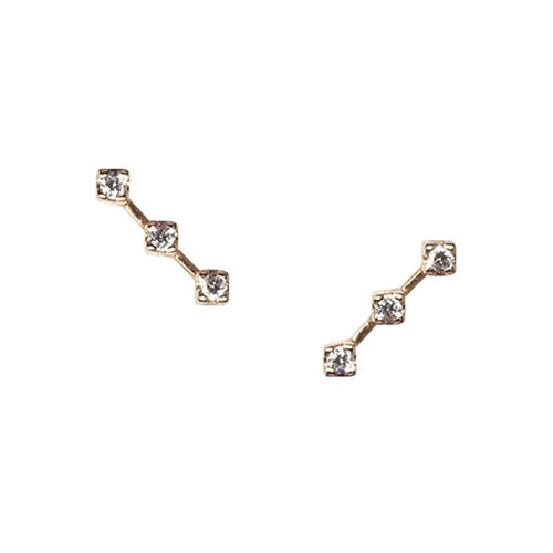 Yellow Gold Helen Ear Climber With White Diamonds