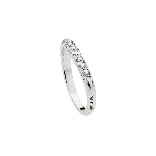 Heart Ring - White Gold With Clear Diamonds