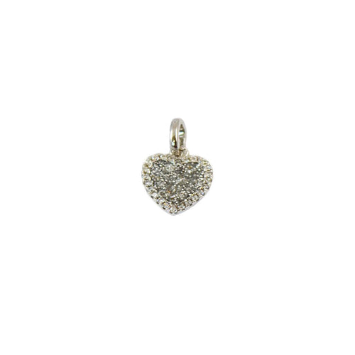 Rhodium Plated Sterling Silver Heart of Love Charm