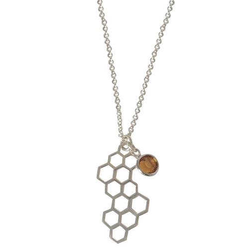 Honeycomb And Honey Drop Necklace