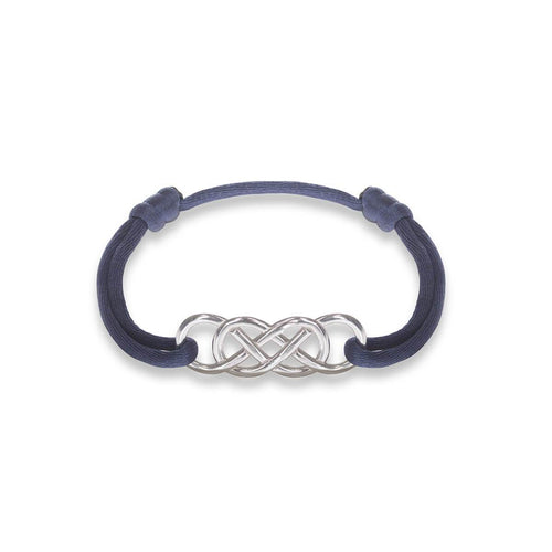 Silver Infinity Ibiza Bracelet With Navy Blue Ribbon | INFINITY by Victoria