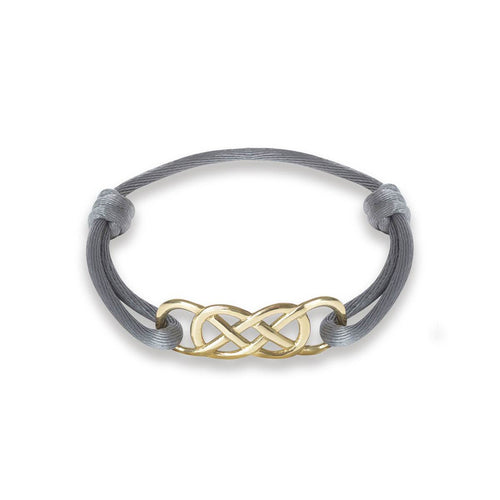 Yellow Gold Infinity Ibiza Bracelet With Grey Ribbon | INFINITY by Victoria