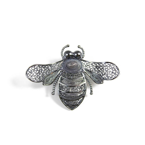 Oxidised Filigree Bee Brooch