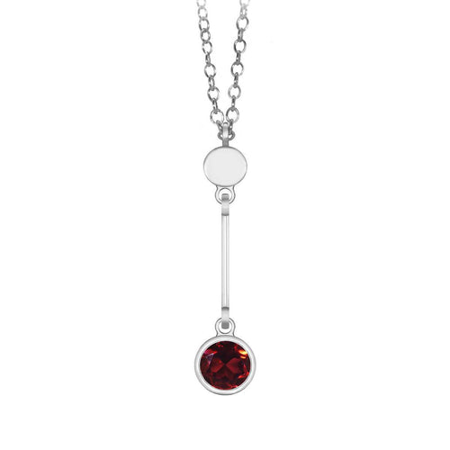 Sparkly Solo Necklace With Garnet ,[product vendor],JewelStreet