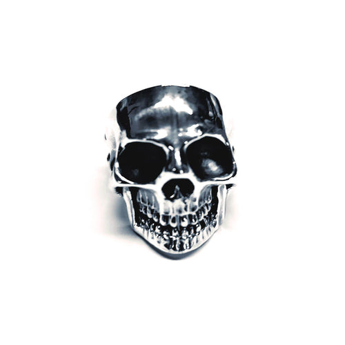 Hand Carved Sterling Silver Men's Skull Ring ,[product vendor],JewelStreet
