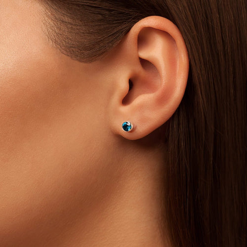 Sparkly Solo Studs With Royal Blue Topaz
