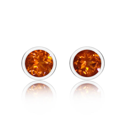 Sparkly Solo Studs With Orange Topaz
