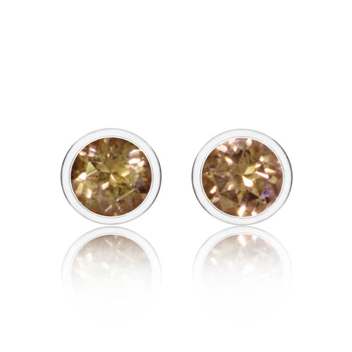 Sparkly Solo Studs With Honey Topaz