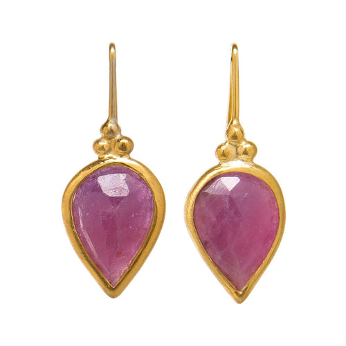 Fia Earrings With Pink Sapphire-India Mahon-JewelStreet US
