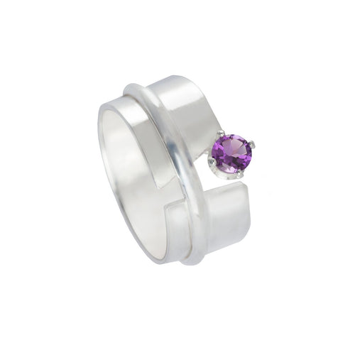 Sterling Silver & Amethyst Breezy Ring | INIZI
