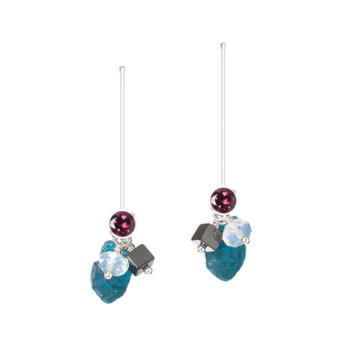 Sterling Silver, Facets & Rough Gem Cluster Drop Earrings | INIZI