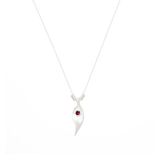 Sterling Silver & Garnet Breezy Leaf Necklace | INIZI