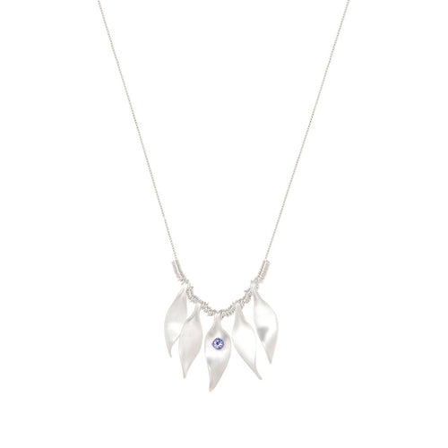 Sterling Silver & Tanzanite Breezy Leaves Necklace | INIZI