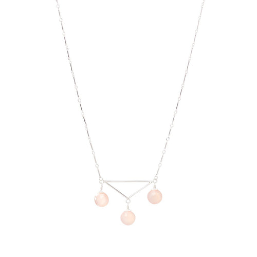 Sterling Silver & Chalcedony Breezy Triangle Necklace | INIZI