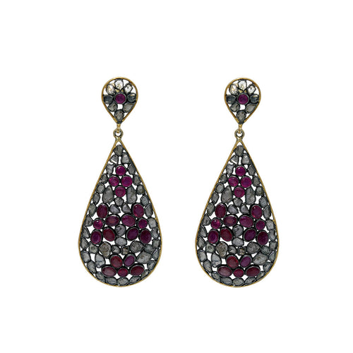 Ruthenium Plated Imperial Ruby Earrings ,[product vendor],JewelStreet
