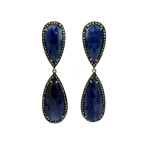 Ruthenium Plated Imperial Sapphire Earrings ,[product vendor],JewelStreet