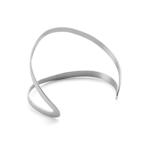 Indochine Cuff in Shiny White Gold Plated-EKRIA-JewelStreet US