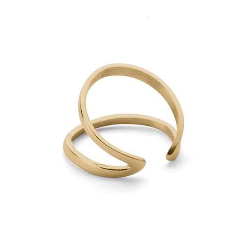 Indochine Midi Ring in Shiny Yellow Gold Plated-EKRIA-JewelStreet US