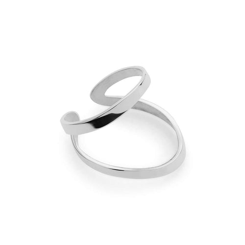Indochine Ring in Shiny White Gold Plated-EKRIA-JewelStreet US