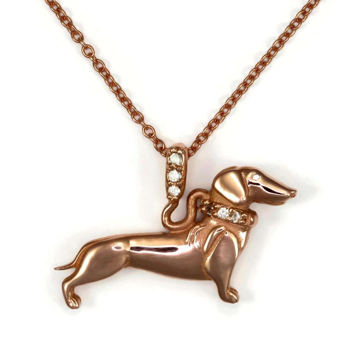 14kt Rg Dachshund With Diamond Leash-Donna Pizarro Designs-JewelStreet US