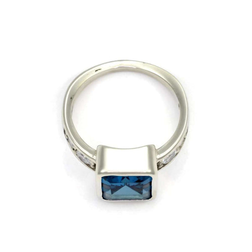 14kt London Blue Topaz And Diamond Ring-Donna Pizarro Designs-JewelStreet US