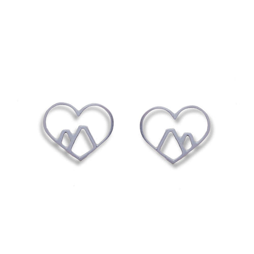9kt White Gold Love the Mountains Earrings