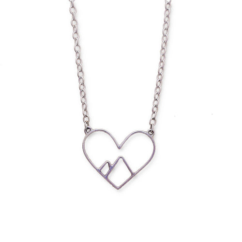 Sterling Silver Love The Mountains Necklace