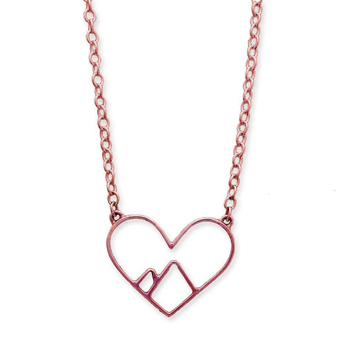 9kt Rose Gold Love the Mountains Necklace