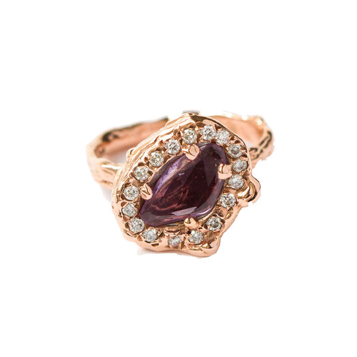 9kt Rose Gold Ring With Diamonds & Purple Sapphire ,[product vendor],JewelStreet