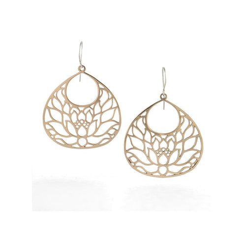 Large Lotus Flower Earrings In Bronze-House of Alaia-JewelStreet US