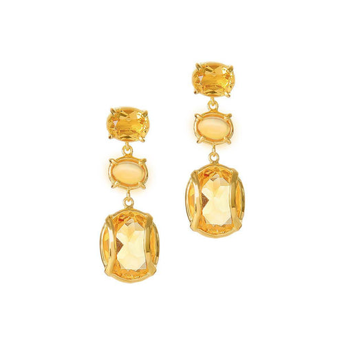 Yellow Gold Plated Lexington Earrings With Citrine