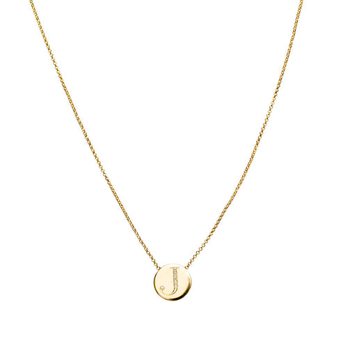 18kt Yellow Gold Diamond Letter Necklace ,[product vendor],JewelStreet