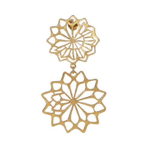Yellow Gold Plated Lotus Dangling Earrings ,[product vendor],JewelStreet