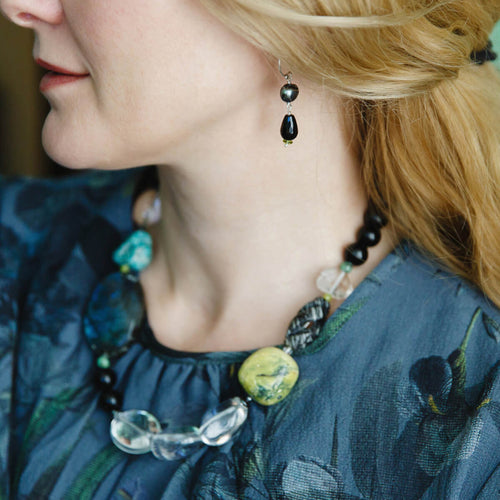 Vert Noir Eclectic Gemstone Rock & Pebble Necklace ,[product vendor],JewelStreet
