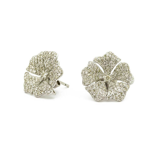 White Gold Plated Diamond Flower Studs