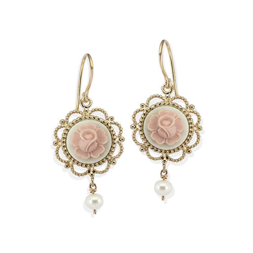 Mediterraneo Primavera Cameo Earrings - Rose Gold Plated