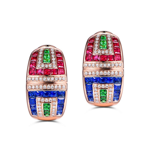 Multi-Colour Gem Studs-SILVER YULAN-JewelStreet US