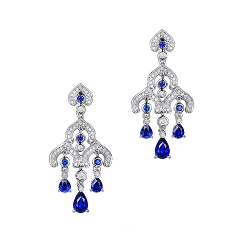 Sapphire Chandelier Earrings-SILVER YULAN-JewelStreet US